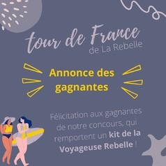 🇫🇷 C'est la fin du tour de France de la Rebelle ! 🇫🇷  Bravo aux gagnantes, qui remportent leurs kit de la Voyageuse Rebelle, et merci à toutes d'avoir participé ! 🏆👏  Restez à l'affut, d'autres concours sont à venir avec La Rebelle... 😍